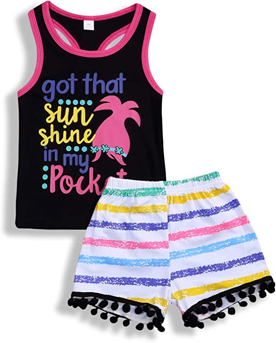 c2059a98f9d Younger star Toddler Girl Summer Clothes Vest Tops Tassels Shorts 2pcs Baby  Girl Outfit Suit (