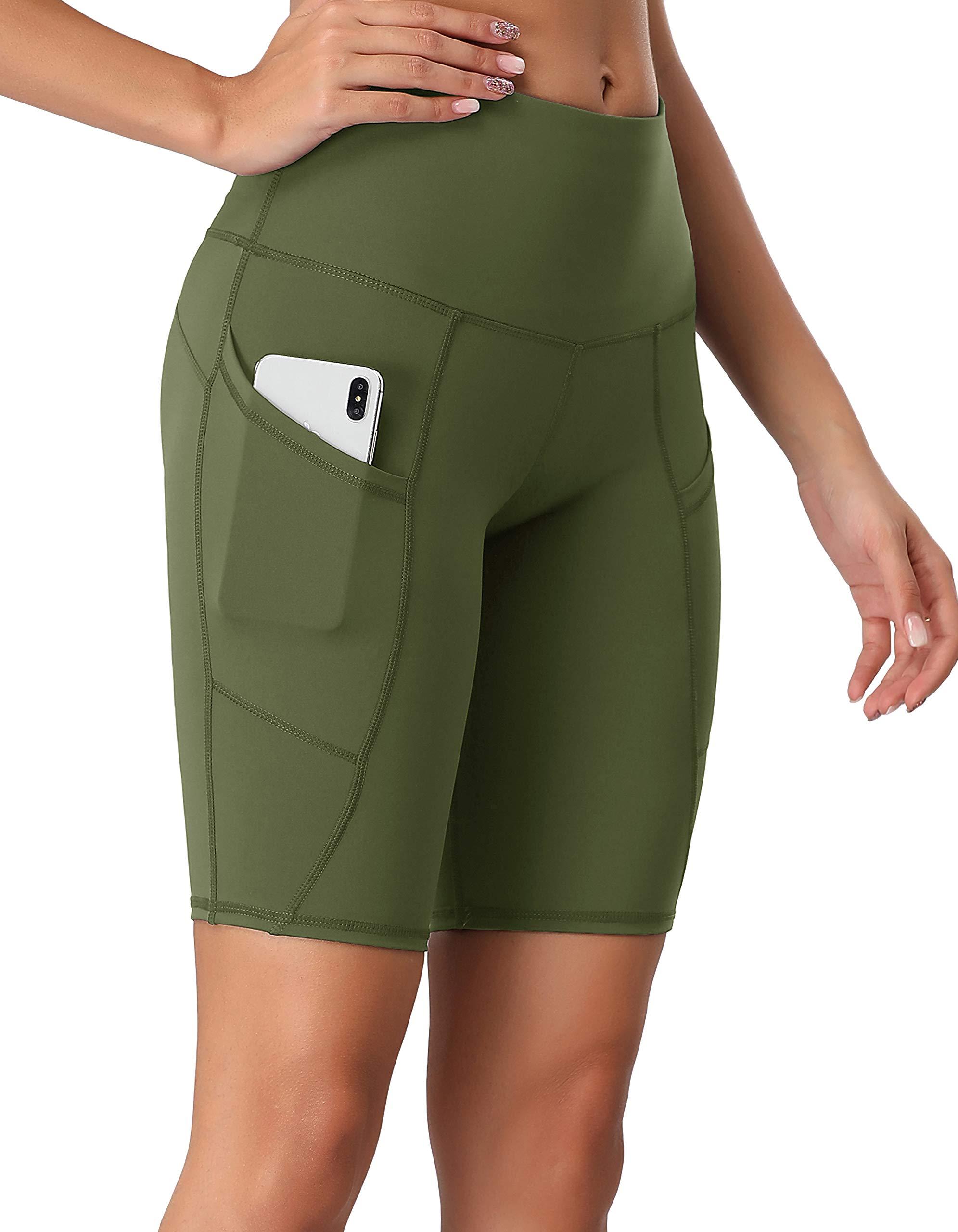 Oalka Women's Short Yoga Side Pockets High Waist Workout Running Shorts Army Green S by Oalka