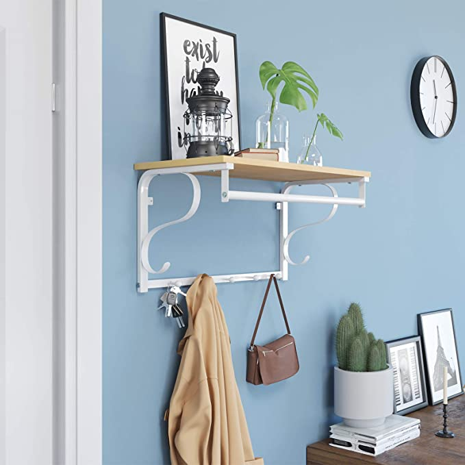 Vasagle Coat Rack Shelf Wall Mounted Hook Rack Shelf With 5 Hooks And Hanging Rail For Entryway Hallway Bathroom Living Room Oak White Lcr11wy Amazon Co Uk Kitchen Home