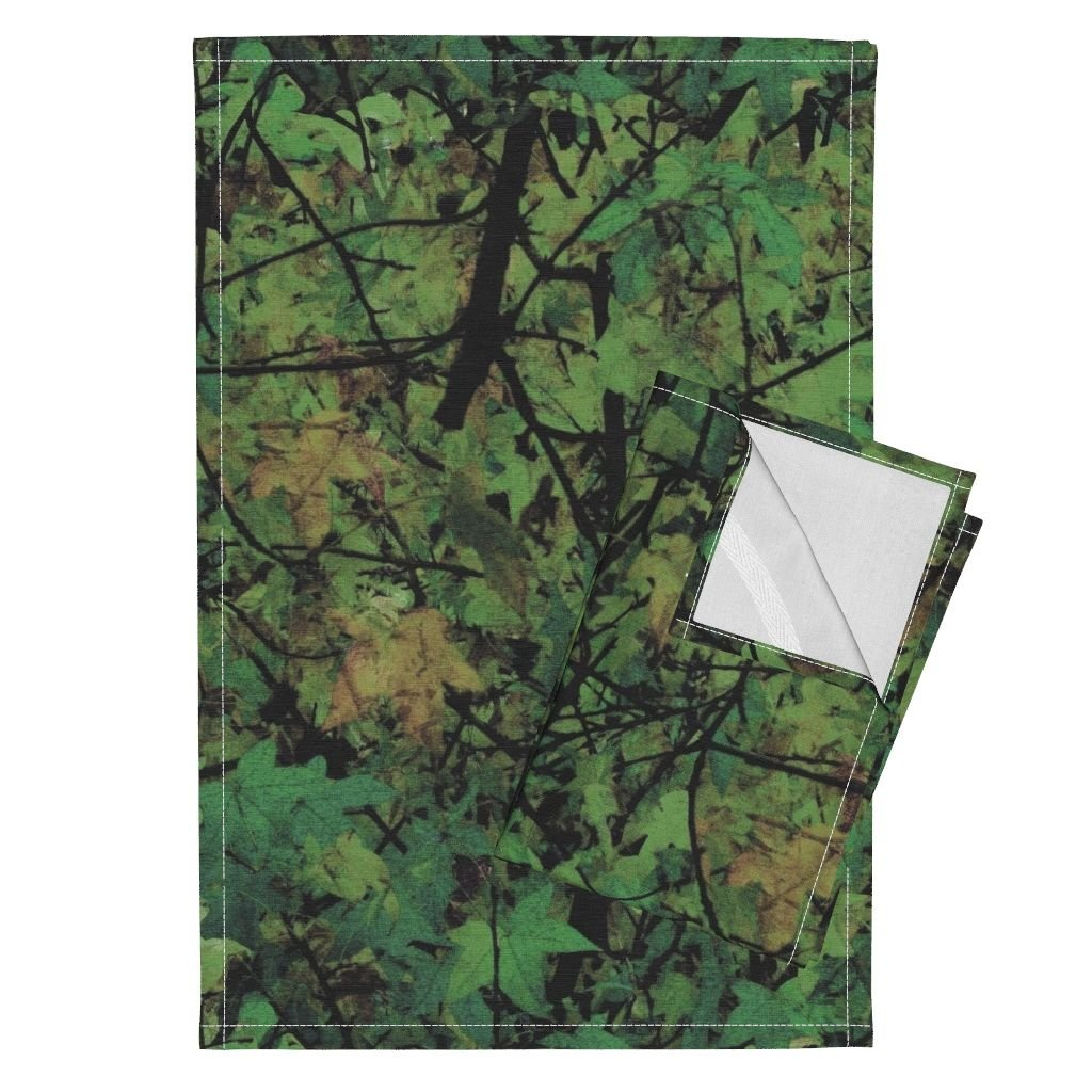 Trees Leaves Nature Photographic Camouflage Woods Green Tea Towels The Wild Wood ~ Haunted by Peacoquettedesigns Set of 2 Linen Cotton Tea Towels by Roostery (Image #1)