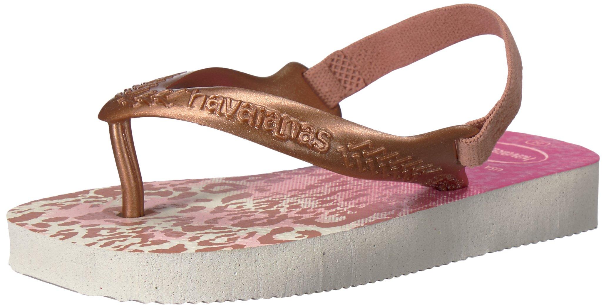 Havaianas Sandal Flip Flop Sandals with Backstrap, Baby/Toddler, Chic,White/Golden Blush,23-24 BR(9 M US Toddler)
