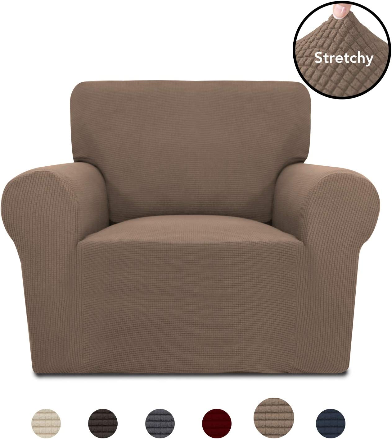 PureFit Stretch Chair Sofa Slipcover – Spandex Jacquard Anti-Slip Soft Couch Sofa Cover, Washable Furniture Protector with Anti-Skid Foam and Elastic Bottom for Kids (Chair, Camel)