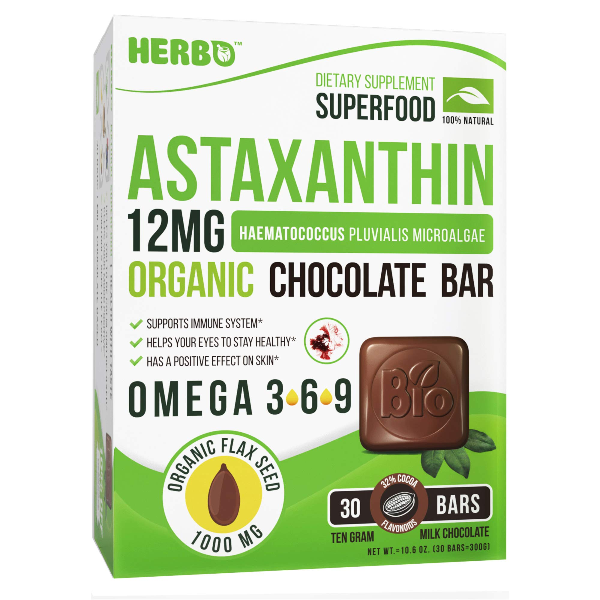 Astaxanthin 12 mg, Organic - Support Immune and Cardiovascular System, Powerful Antioxidant - Organic Superfood - Premium Taste, Organic Chocolate Bar, Organic Omega 3 - Non-GMO, Gluten Free