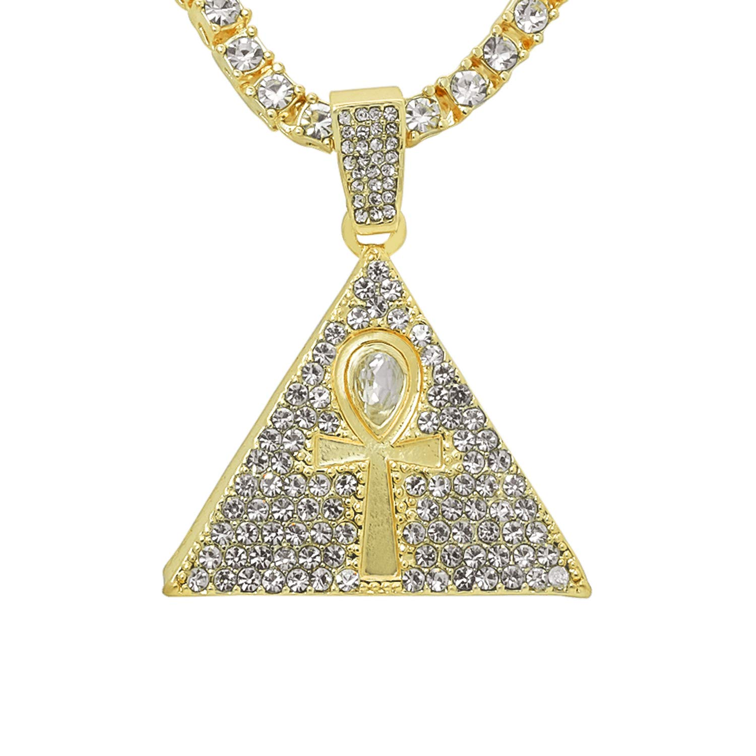 Gold-Tone Iced Out Hip Hop Bling Pyramid and Ankh Cross Pendant with 24 Tennis Chain and 24 Rope Chain
