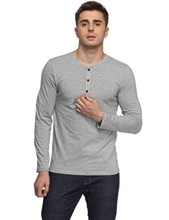 595c41a8a Guangyuanli Men's Casual Long Sleeve T Shirt Grandad Neck Button Top Grey S