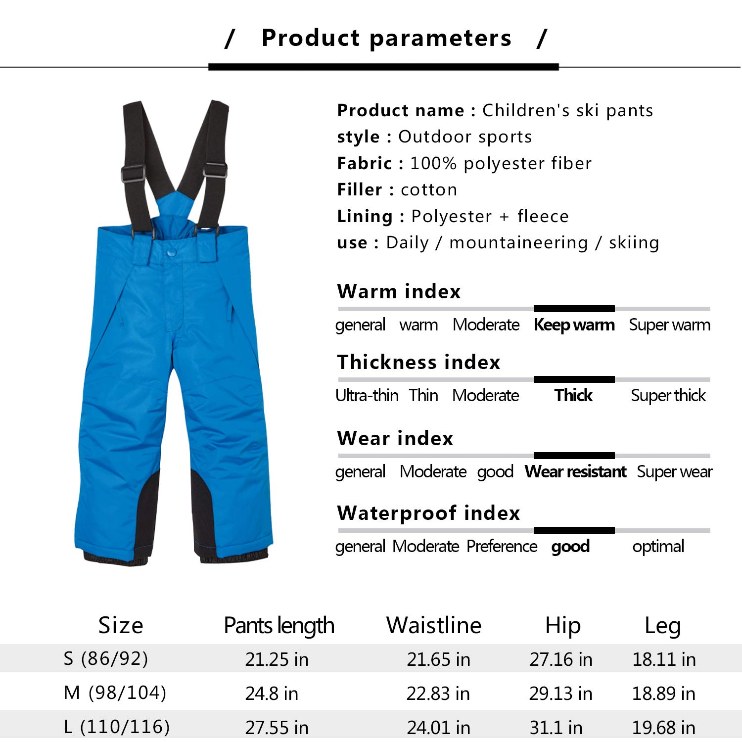 BiyAN9m Baby//Toddler Chest Insulated Snow Bib Overalls Snow Pant with Suspenders Snow Bib