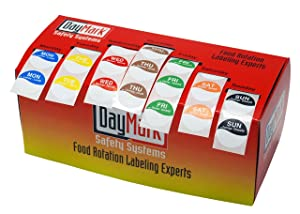 """DayMark Day of the Week 1"""" Permanent Labels, Monday-Sunday, Dispenser Box Included (7,000 labels)"""