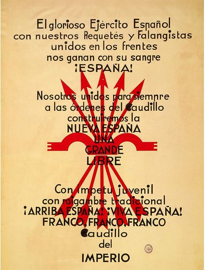 WAR SPANISH CIVIL NATIONALIST FASCIST FALANGE SPAIN ARISE FLAG POSTER BB6955B