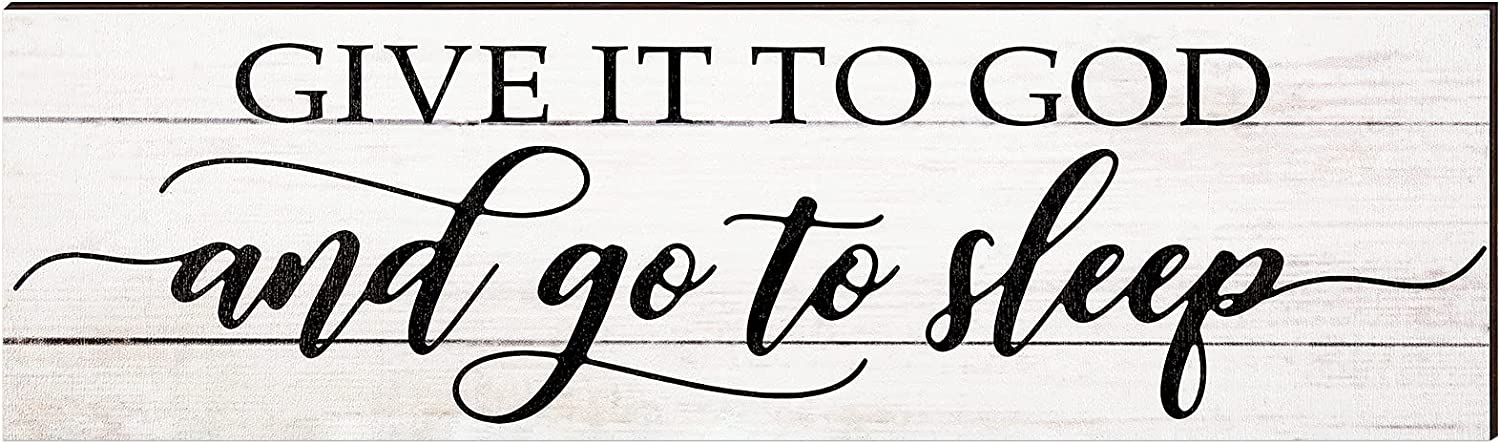 Jetec Give it to God and Go to Sleep Sign Bedroom Wall Decor Cute Room Decor Modern Farmhouse Wall Decor Rustic Farmhouse Decor for The Home Sign (Beige)