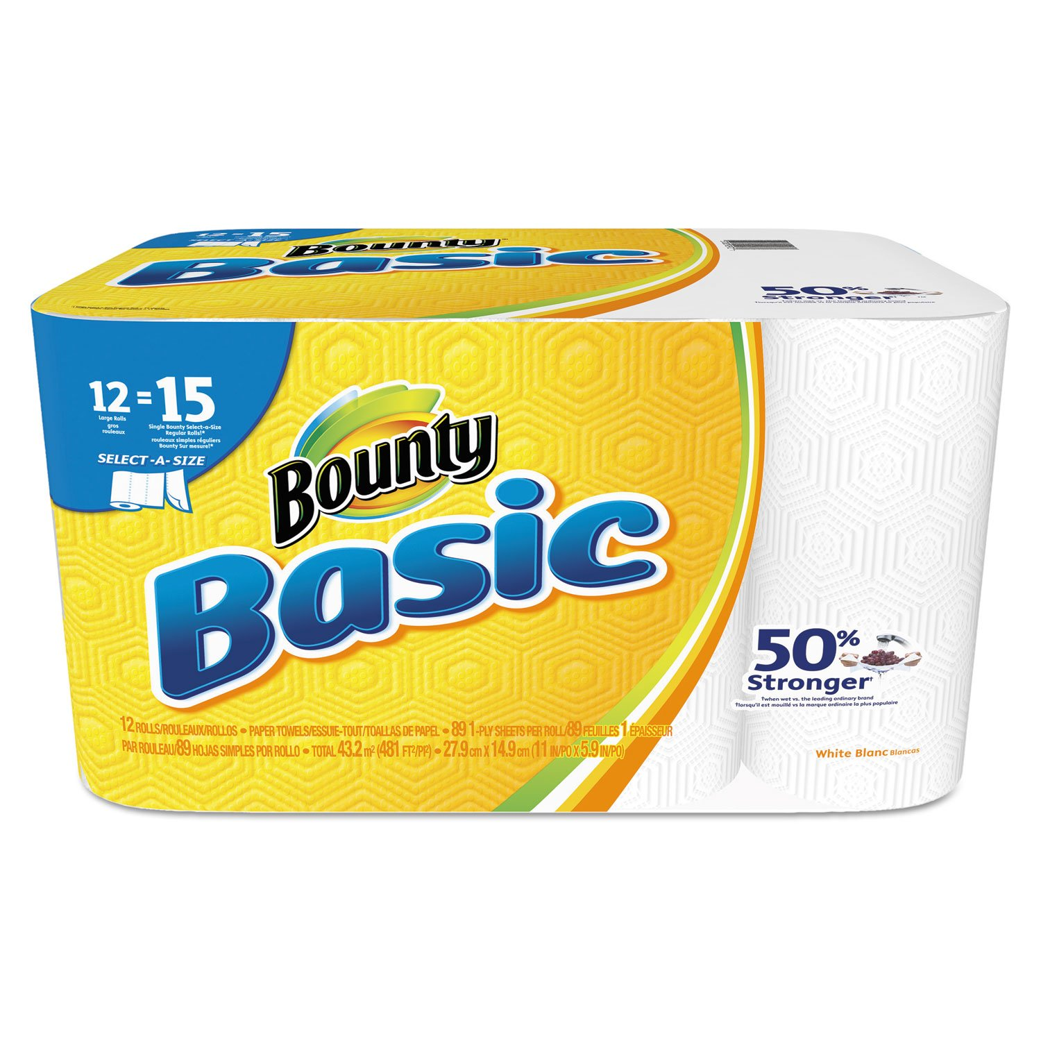 Bounty 92972 Basic Select-a-Size Paper Towels, 5 9/10 x 11, 1-Ply, 89 Sheets Per Roll (Pack of 12 Rolls) by Bounty
