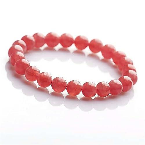 LiZiFang 8mm Natural Ice Rhodochrosite Gemstone Crystal Round Bead Stretch Bracelet