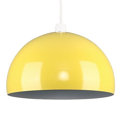 MiniSun - Moderna pantalla de lámpara de techo del afamado estilo arco, de metal, en amarillo brillante en forma de globo