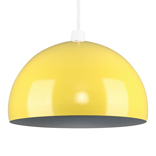 Modern gloss yellow metal dome ceiling pendant light shade