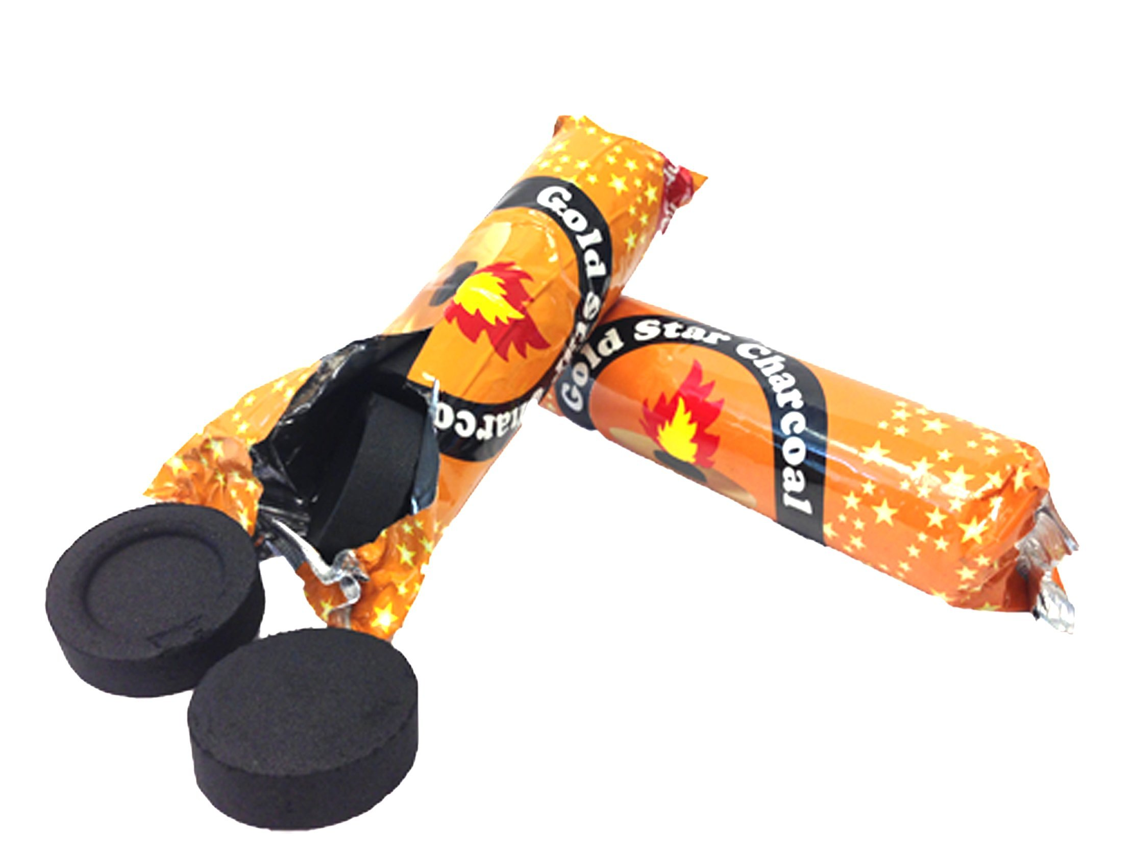 AUTHENTIC- Gold Star 40 Mm Shisha Hookah Incense Charcoal 10 Roll 100 pieces