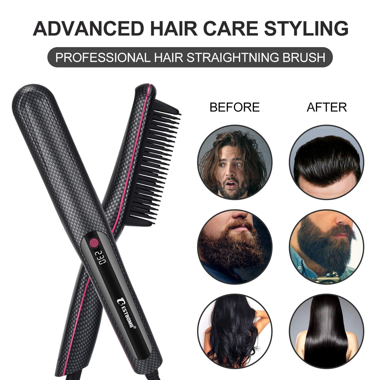 Lisseur Barbe Homme, BESTBOMG Lisseur Barbe Cheveux 2 en 1 Pour Hommes Professionnel - Peigne Chauffant Lissant Céramique (Rectangle)