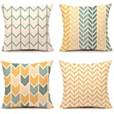 Yellow Accent Throw Pillow Cover Chevron Simple Geometric Home Decorative Cushion Case 18 x 18 Inch Cotton Linen(Set of 4)