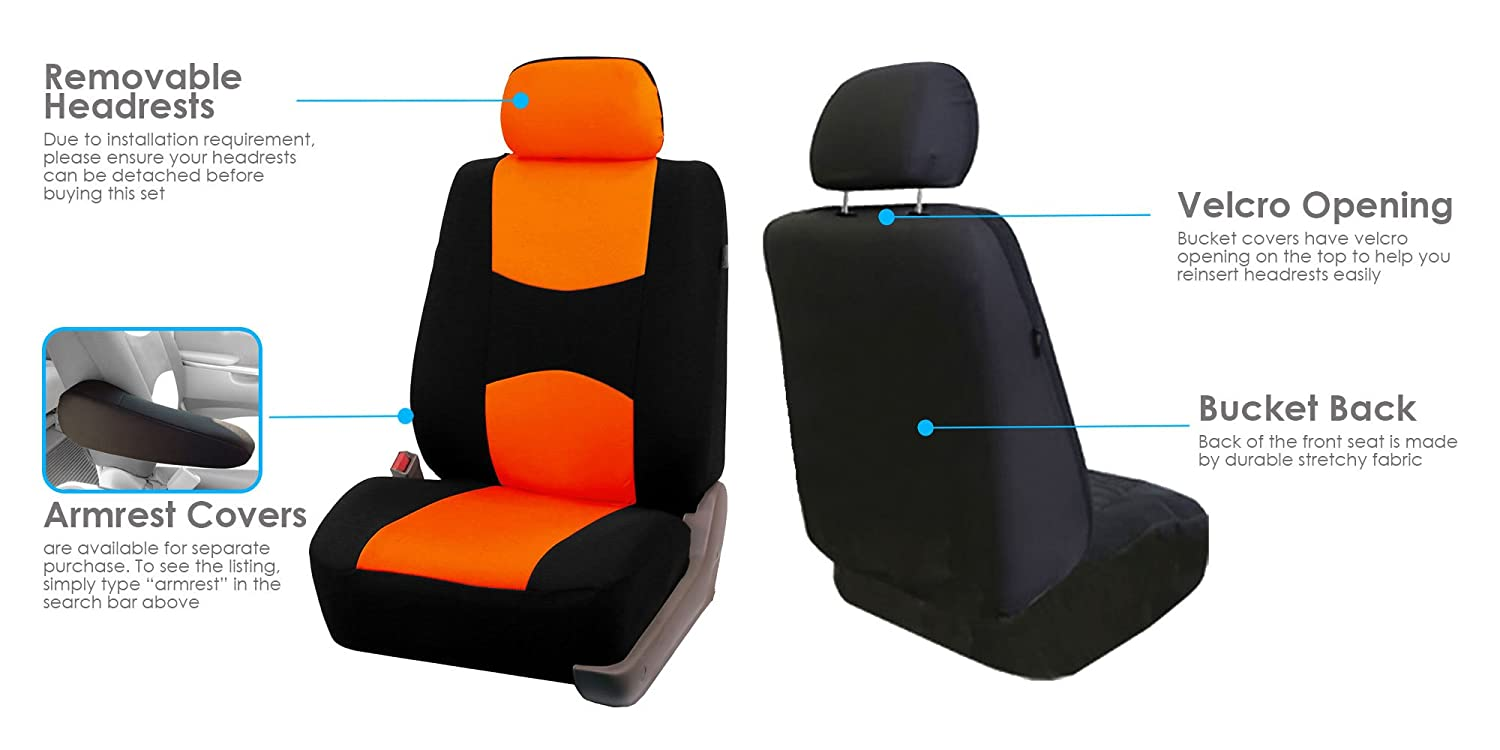 SUV Tangerine//Black- Fit Most Car FH Group FH-FB050114 Full Set Flat Cloth Car Seat Covers or Van Truck