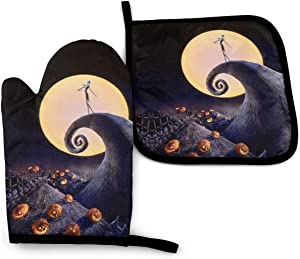 MSGUIDE The Nightmare Before Christmas Oven Mitts and Pot Holders Sets,Heat Resistant Non-Slip Cooking Gloves with Cotton Lining for Kitchen Baking Grilling BBQ
