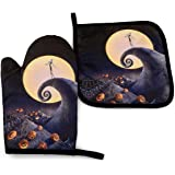 MSGUIDE The Nightmare Before Christmas Oven Mitts and Pot Holders Sets,Heat Resistant Non-Slip Cooking Gloves with…