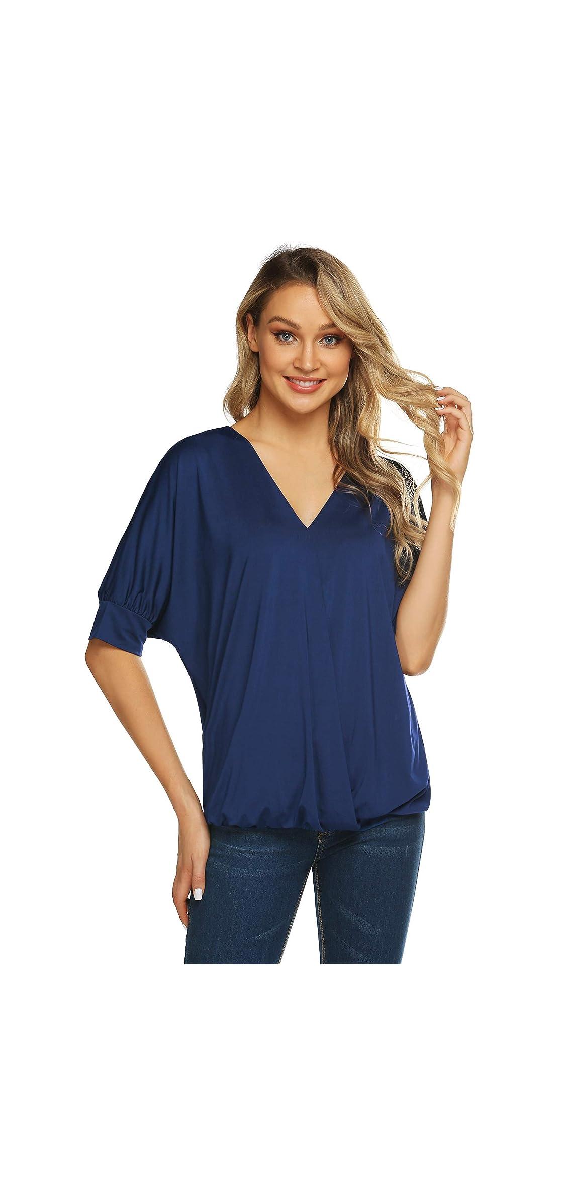 Women's Dolman Top Wrap Front Side Shirring Blouse Top
