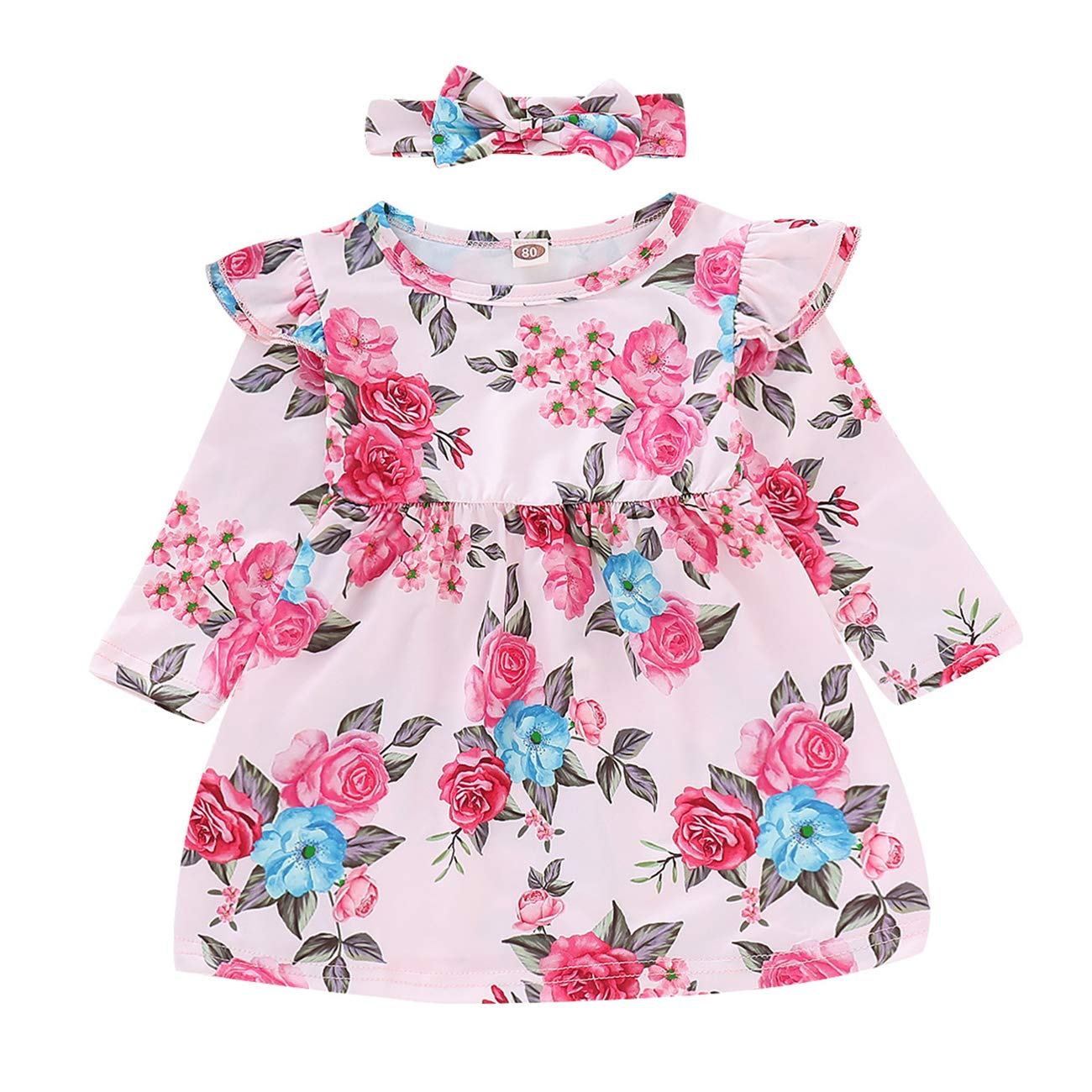 FCQNY Kid Baby Girls Long Sleeve Pink Floral A-line Casual Pleated Dress+Headband
