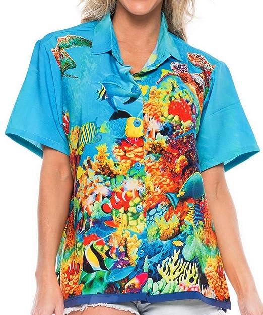 1b0bf028 Ladies Hawaiian Shirt Tank Blouses Beach Top Casual Aloha Boho Holiday  Stylish at Amazon Women's Clothing store: