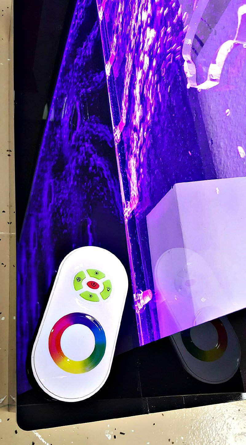 Fountain Bubble Wall Panel 11 Merchandise Display Shelves 6.5 Ft H Free Standing Multi Color LED Light Restaurant Bar Club Store Entry Foyer Model SDS-W01