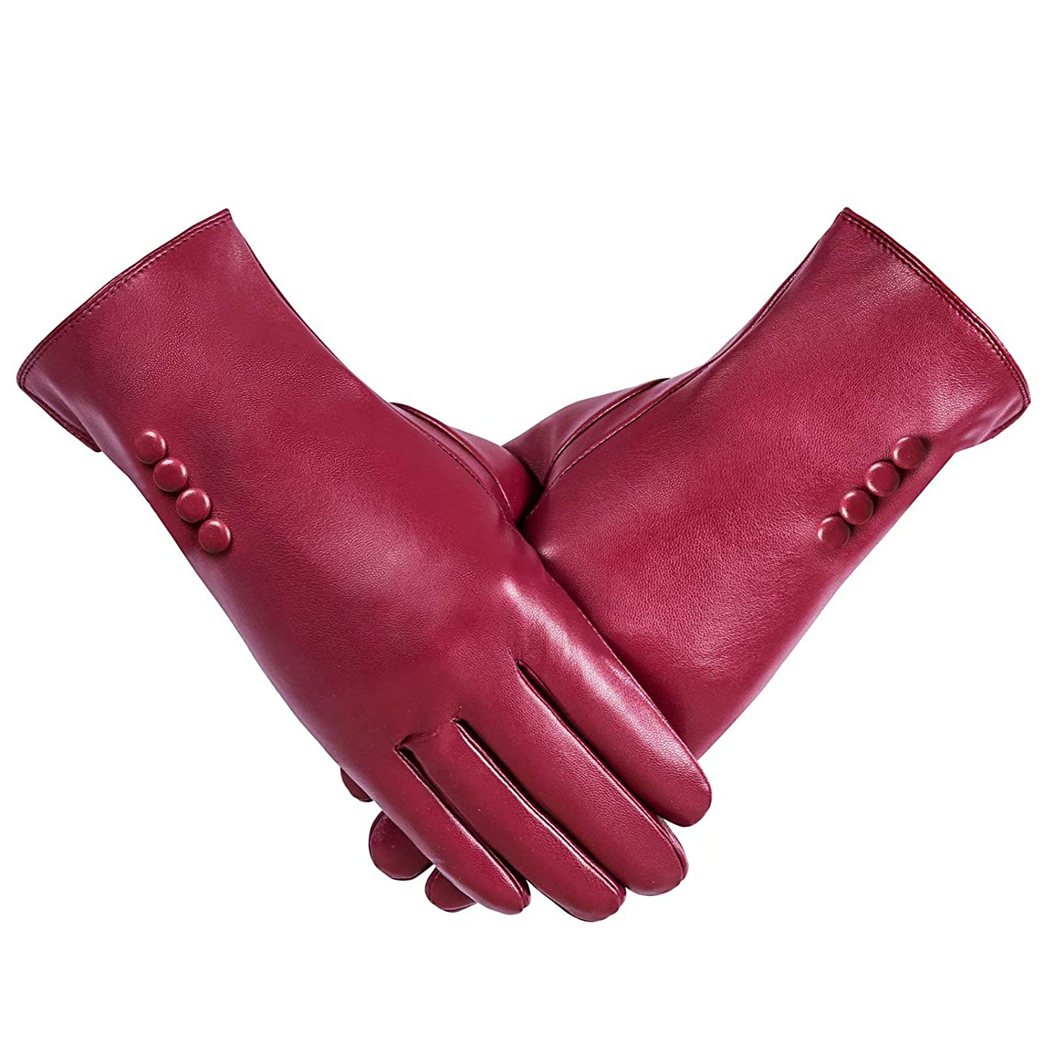 Winter Leather Gloves For Women Warm Thermal Touchscreen Texting Typing Dress Driving Motorcycle Gloves With Wool Lining