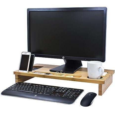 Bramley Power - Soporte elevador para monitor de madera de bambú, para pantalla de ordenador