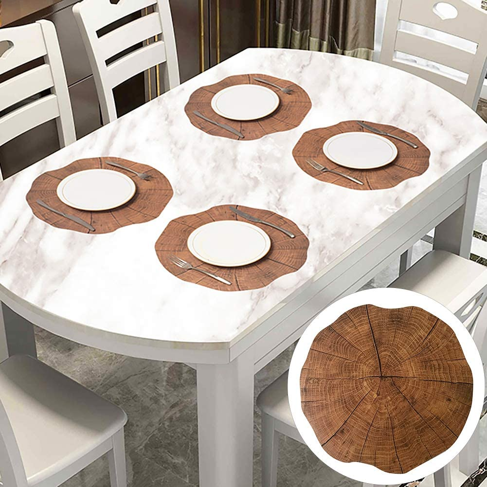Wood Grain Plastic Placemat Anti-skid Cup Mat Plate Bowl Pad Coaster Table Decor