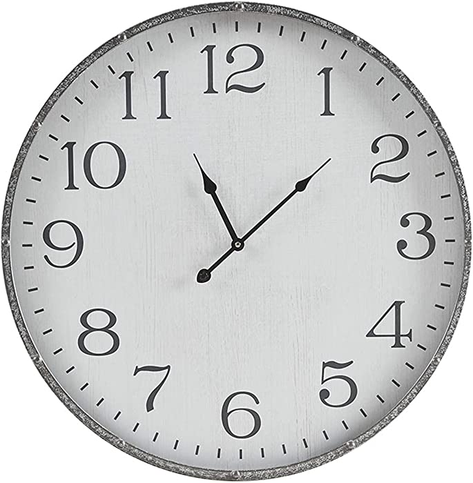 "MARTHA STEWART Galvanized Iron Metal Wall Clock 24 Inch for Living Room Décor Office Decoration Quartz Battery Operated Easy to Read, 24"" x 24"", Duke White/Silver"