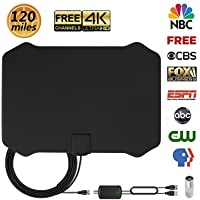 HD Antenna for Digital TV Indoor 120 Mile Range Support 4K 1080P with HDTV Amplifier Signal Booster and 13.2FT Coaxial Cable for Freeview Local Channels