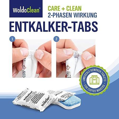 WoldoClean Tabletas descalcificadoras de 2 Fases 12x tabletas - Compatible con Todas Las máquinas