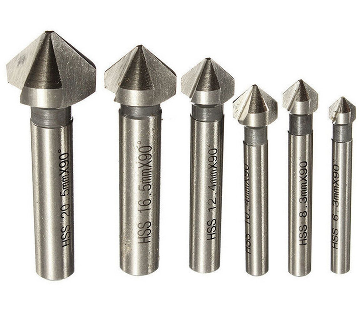 6PCs HSS Drill Chamfer Chamfering 90 Degree 3 Flute End Mill Cutter Drill Bit For Wood Steel Aluminum