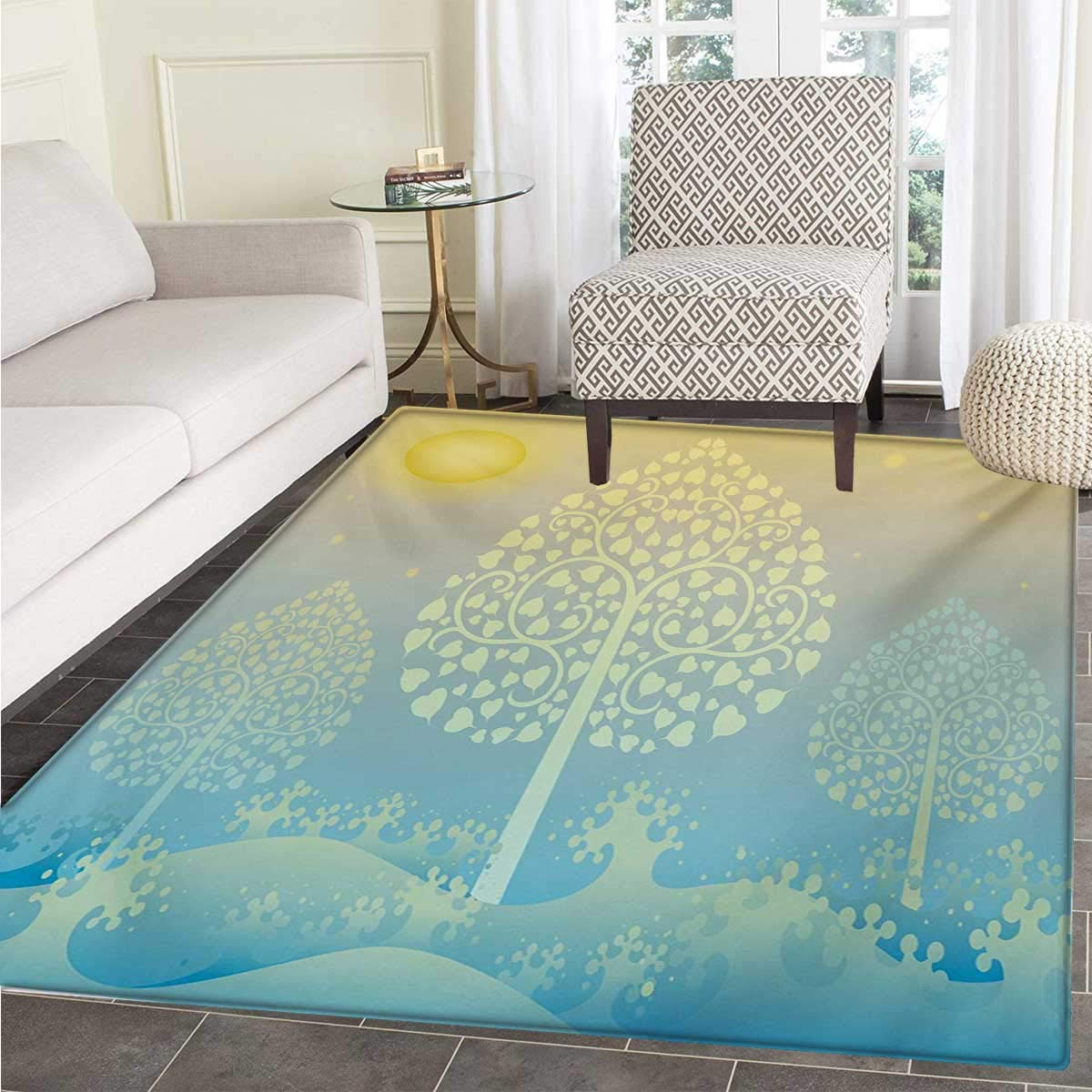 Art Bath Mats Floors Thai Pattern Design Illustration Gold Tree Oriental Culture Asia Eastern Ways Door Mat Indoors Bathroom Mats Non Slip 36''x48'' Gold Sky Blue