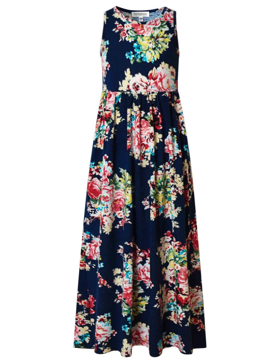 Perfashion Girls Empire Waist Floral Print Boat NeckSummer Maxi Dress, 6-7 Years/Height:48in, Navy Blue Floral