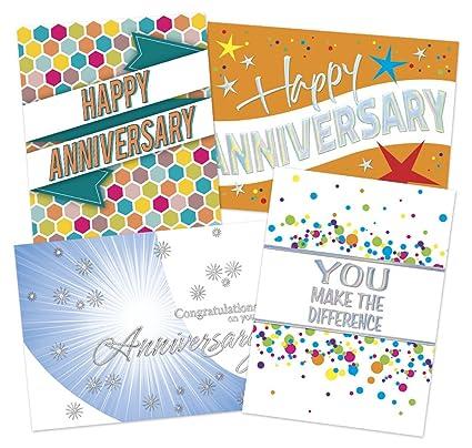 50 employee anniversary cards 4 unique designs 52 white envelopes eco friendly - Employee Anniversary Cards