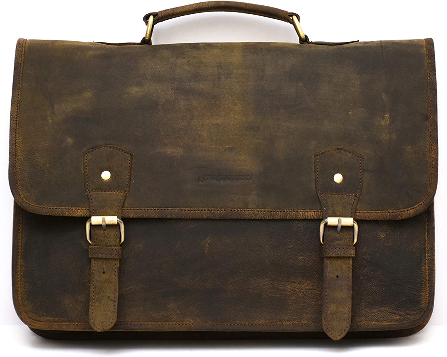 The Tannery Vintage Crazy Horse Leather Handmade Laptop Bag for Mens Womens