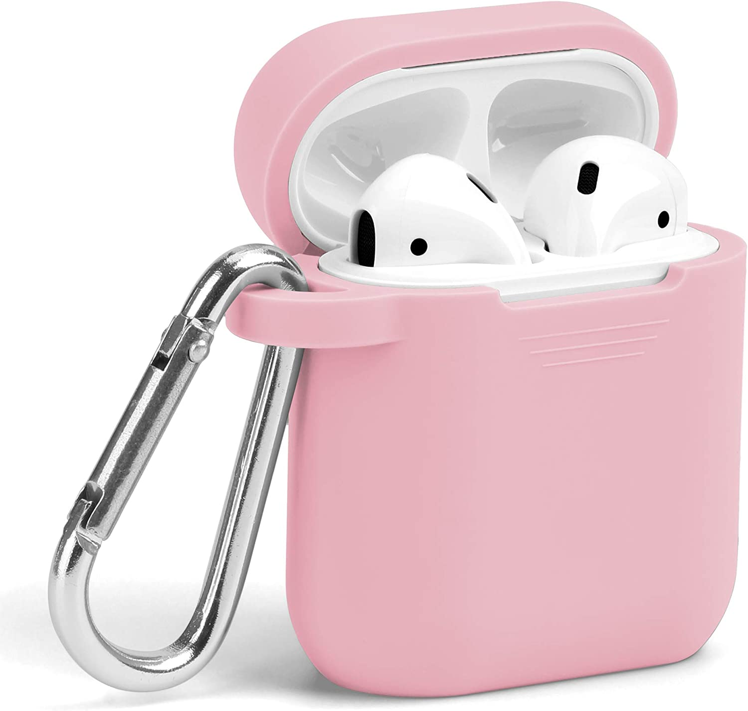 AirPods Case, GMYLE Silicone Protective Shockproof Wireless Charging Airpods Earbuds Case Cover Skin with Keychain Set Compatible for Apple AirPods 2 & 1 – Baby Pink