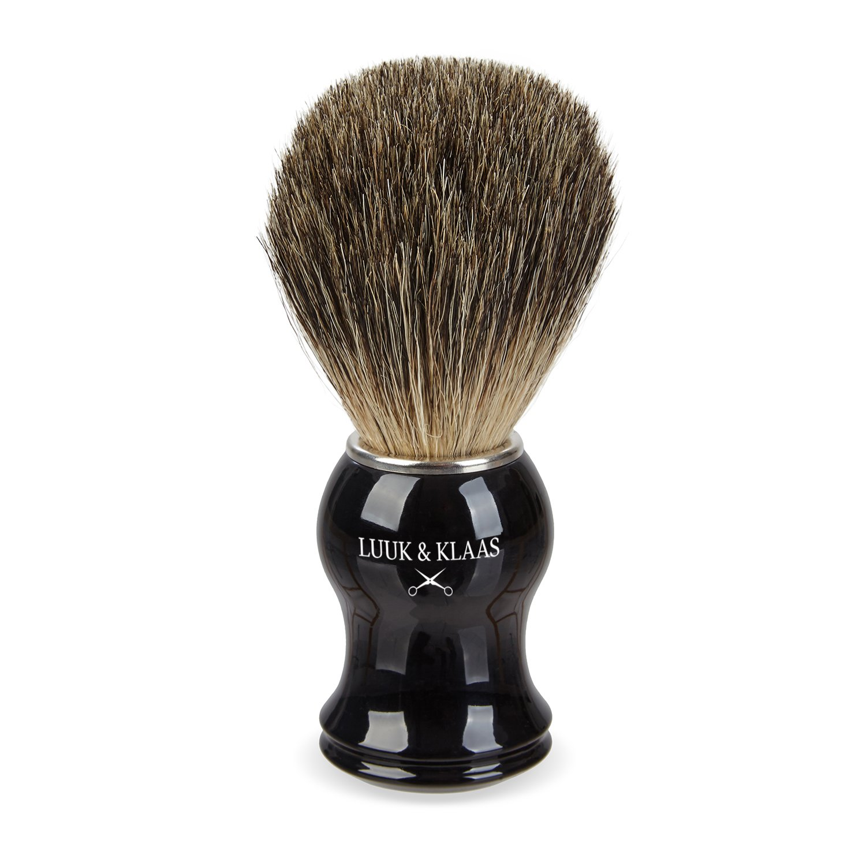 LUUK & KLAAS brocha de afeitar de pelo de tejón de 100% auténtico pelo de tejón con mango de óptica de madera de alta calidad | 2 años de garantía de satisfacción | pincel de espuma de afeitado, accesorio para afeitado eSpring GmbH