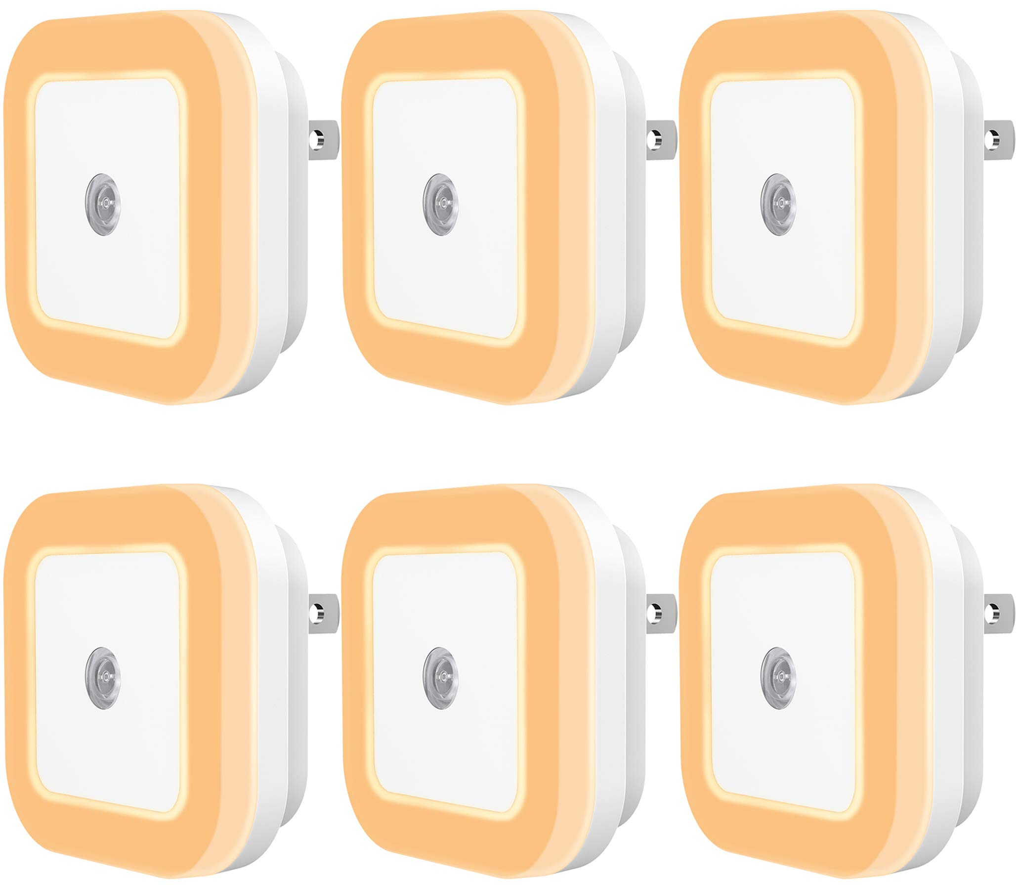 Sycees Plug-in LED Night Light with Dusk-to-Dawn Sensor for Bedroom, Bathroom, Kitchen, Hallway, Stairs, Warm White, 6-Pack by SYCEES