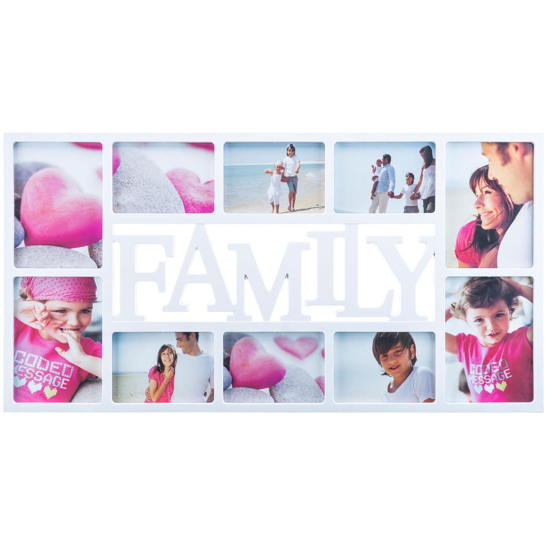 Cadre à inscription 'Family' Cadre photo Galerie photos Collage de photos - cadre pour plusieurs photos Support pour photos de mariage arbre généalogique Amour Enfants Portra Weiß Goods & Gadgets