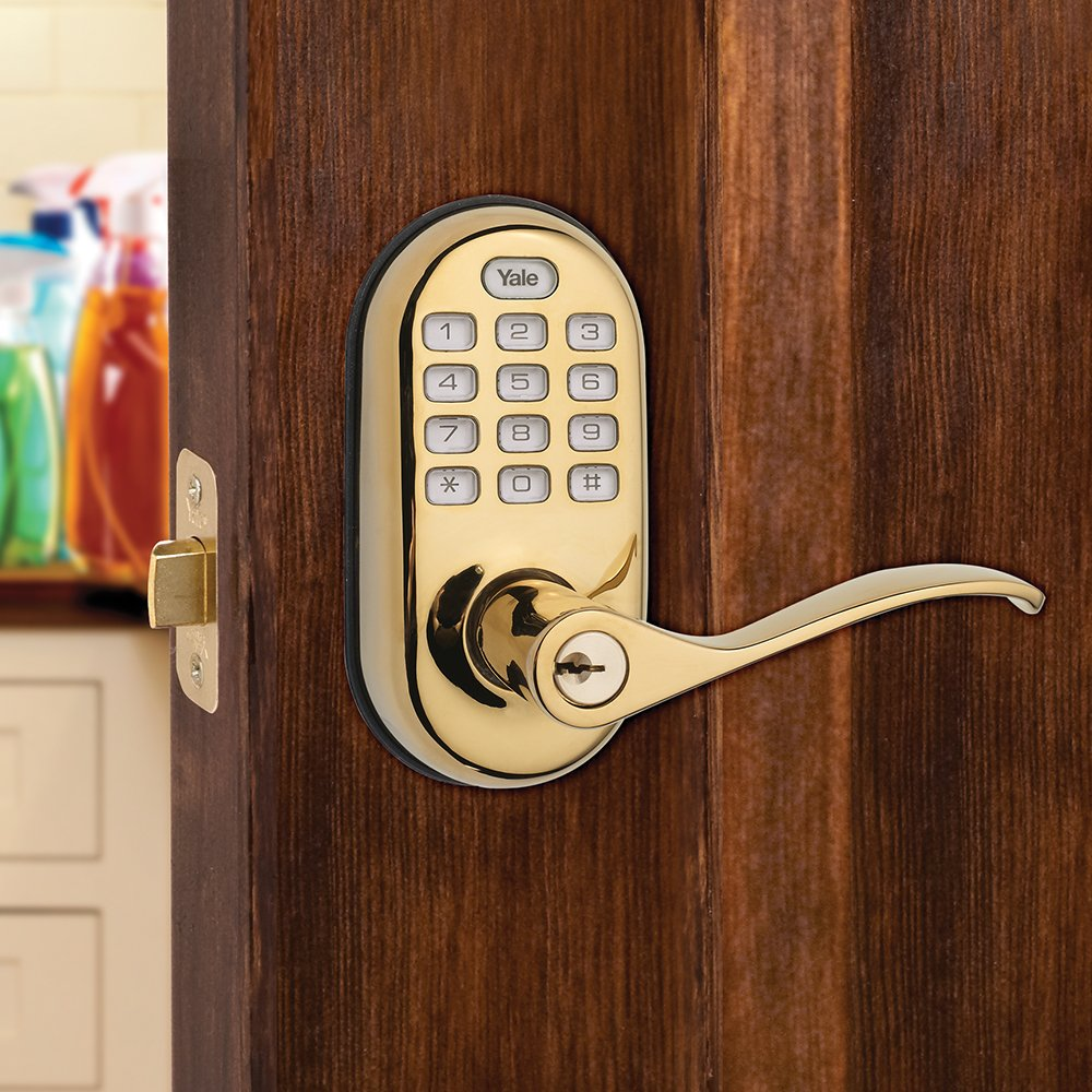 Yale Z-Wave Real Living Keyless Push Button Lever Lock, Works with Amazon Alexa via SmartThings, Polished Brass, YRL210-ZW-605 by Yale Security (Image #2)