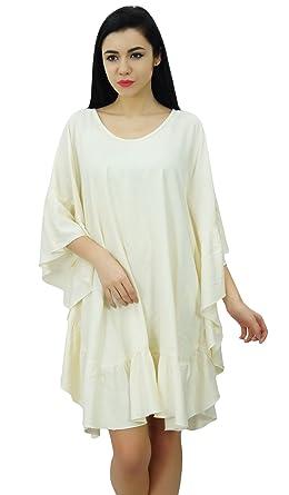 abcdc215c8 Bimba Women Short Rayon Kaftan Kimono Frill Sleeve Caftan Dress Coverup:  Amazon.co.uk: Clothing