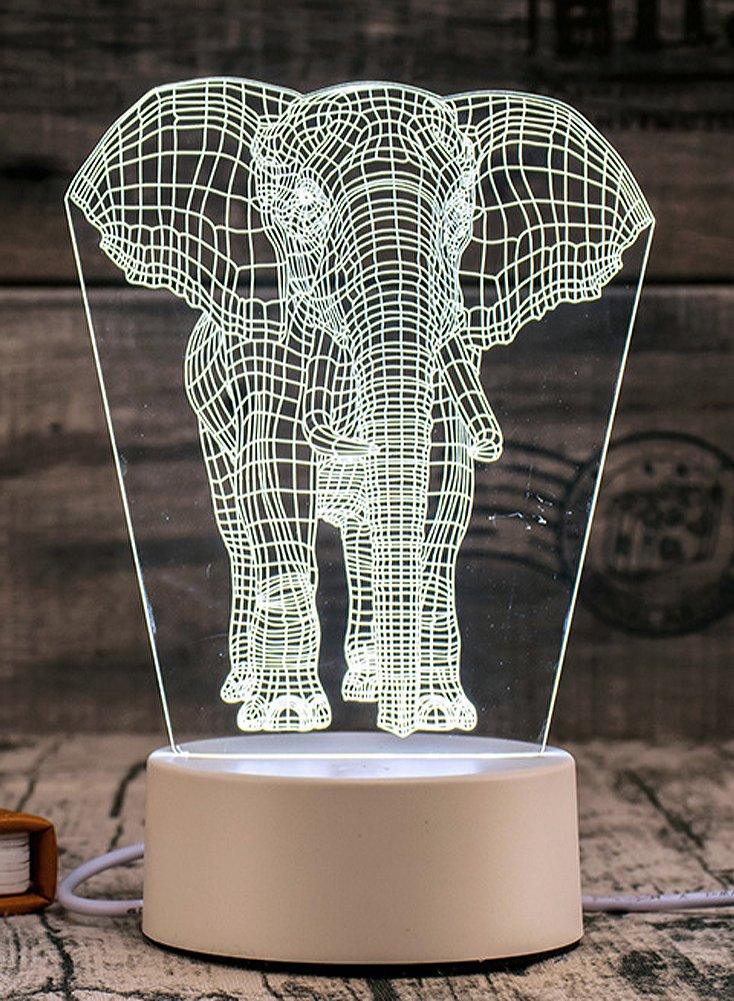 auguswu Telecontrolled Turn Colors 3D Acrylic Led Figurine Night Lights Lamps Elephant White