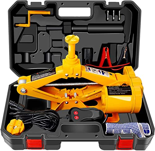 WOKEZ Electric 3 Ton 12V Lifting Range 12-42cm Scissor Jack with Storage Box for SUV Tire Changes