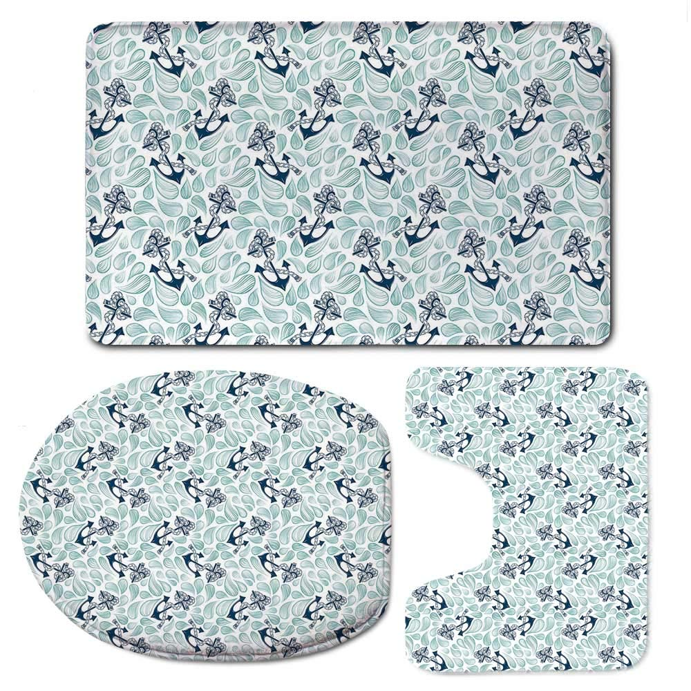 YOLIYANA Anchor Simple Bathroom 3 Piece Mat Set,Abstract Water Droplets Anchors with Marine Rope Vintage Wavy Ocean Decorative for Living Room,F:20'' W x31 H,O:14'' Wx18 H,U:20'' Wx16 H
