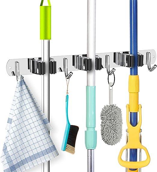 Bathroom Closet Storage Laundry Broom Mop Holder Wall Mounted 4 Pcs Broom Rack Door Garage /& Garden Tool Organizer Stainless Steel Heavy Duty Utility Hanger with 1 Rack for Kitchen