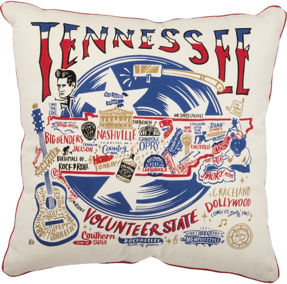 Amazon Com Primitives By Kathy 30520 Home Tennessee State Cotton Decorative Throw Pillow 20 Inch Square
