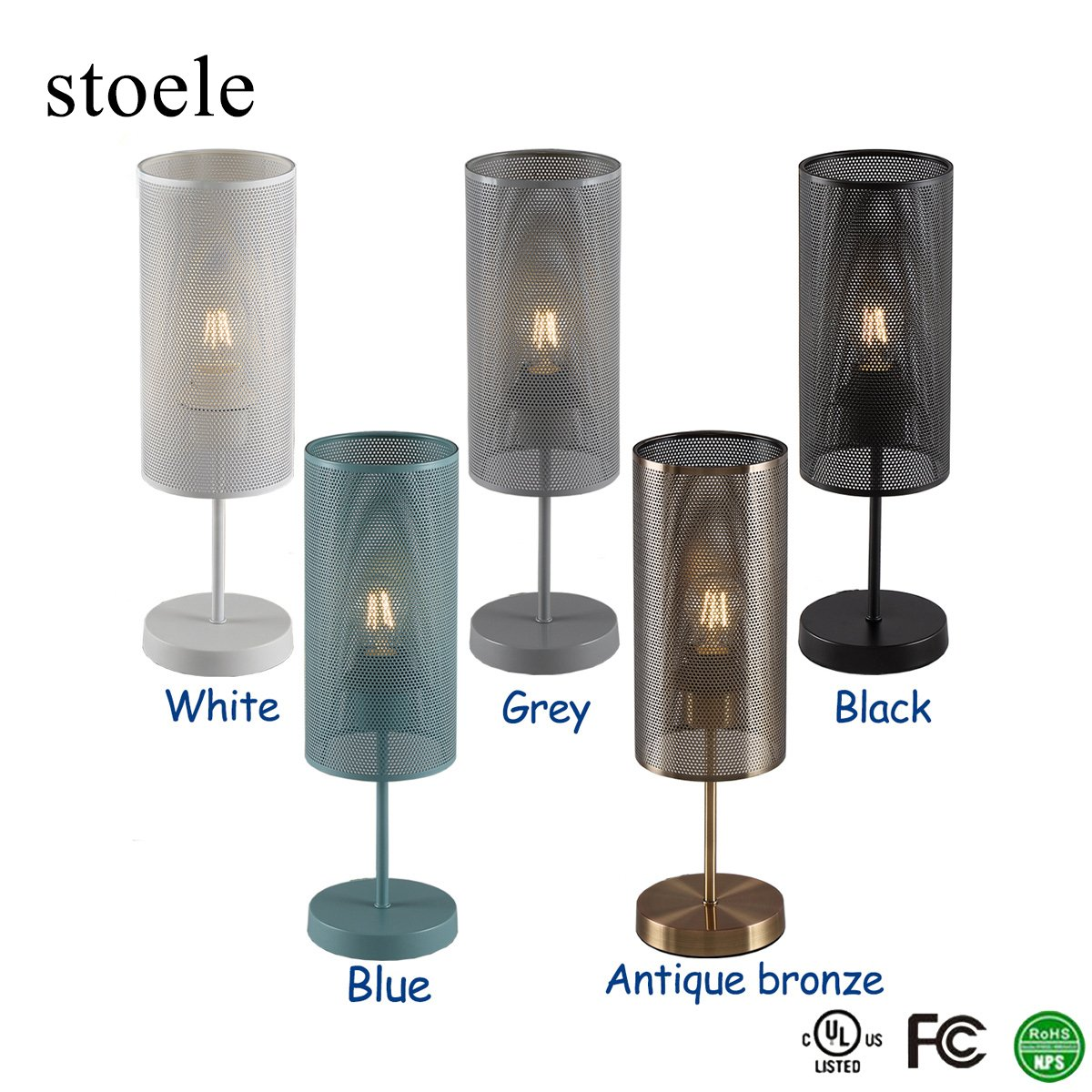 stoele T0215 Table Lamp Desk Light Decorative for Bedroom Living Dining Room Coffee Shop Bookcase Dresser Modern Style 6W LED Bulb Included(Gray) by STOELE